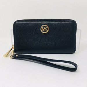 Michael Kors Leather Wallet Wristlet Black